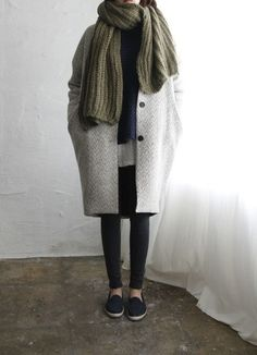 oversized coat + scarf
