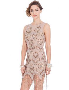 Embellished Flapper Dress - Nude £85.00 AT vintagedancer.com