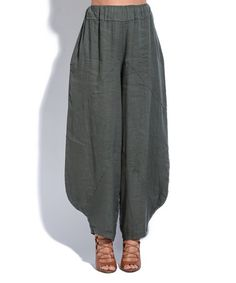 Loving this Khaki Linen Wide-Leg Pants on #zulily! #zulilyfinds