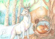 Postcard-painting-5-3-4-x4-by-aceo-artist-Woodland-Spirits-deer-stag-fox-winter