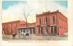 Salt Lake City Utah~Mormon Tithing Offices~Store Room~Dirt Road~Horse Buggy~1905 / HipPostcard