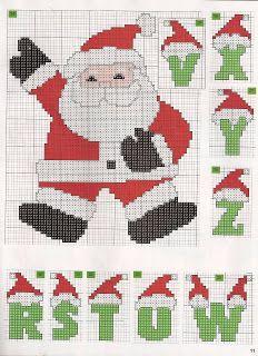 100%_ponto_cruz: Monograma gorrinhos Natal
