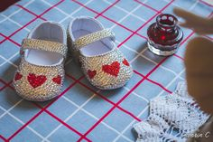 Made with crystal and siam Swarovski rhinestones. A perfect baby shower present or baby keepsake. The strap can be personalized with a name! Christmas Shoes, First Christmas, Baby Shower Presents, Baby Shower Gifts, Baby Bling, Rhinestone Shoes, Baby Keepsake, Queen Of Hearts, Little Princess
