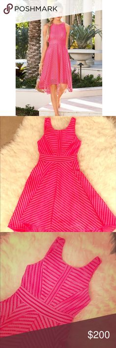 Lilly Pulitzer- Tilly Midi Dress (TIKI PINK) NWT - Tiki Pink - crochet knit stripe - fits a size 4-6 -- gorgeous for the upcoming wedding season ! Lilly Pulitzer Dresses Midi