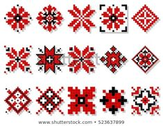 Find Vector Traditional Elements Ukrainian Ornament Decorative stock images in HD and millions of other royalty-free stock photos, illustrations and vectors in the Shutterstock collection. Thousands of new, high-quality pictures added every day. Hand Embroidery Videos, Hand Embroidery Flowers, Folk Embroidery, Hand Embroidery Stitches, Cross Stitch Embroidery, Embroidery Designs, Cross Stitch Thread, Cross Stitch Borders, Cross Stitch Flowers