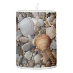 Seashells and the Sea Shore Pillar Candle -nature diy customize sprecial design