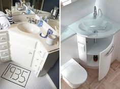 13 Design solutions to turn a small bathroom into a spacious one Tiny Bathrooms, Ensuite Bathrooms, Tiny House Bathroom, Washroom, Built In Shelves, Storage Shelves, Small Toilet Room, Small Cupboard, Next Bathroom