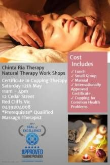 Chinta Ria Therapy Natural Therapy Work Shops Certificate in Cupping Therapy is a hands on learning experience for qualified Massage Therapists wanting to . Cupping Therapy, Hands On Learning, Certificate, Massage, Events, City, Red, Cities