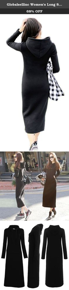 Globalsellinc Women's Long Sleeve Crewneck Tunic Sweatshirt Pullover Long Hoodie Dress (Small, Black). Features: 100% Brand new and fashion design Material: Cotton Blended Color: Black Very Long; Keep you warm ; Slim fit ; Breathable ; Comforable ; Soft feel Size chart: Size S : Bust: 35.4''---Shoulder: 16.1''---Sleeve: 24.0''---Waist: 31.4''---Hip: 36.2''---Length: 50.0'' Size M : Bust: 37.7''---Shoulder: 16.5''---Sleeve: 24.4''---Waist: 33.8''---Hip: 38.5''---Length: 50.3'' Size L…