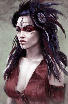 f Barbarian Sorcerer Robes portrait Wilderness lg Fantasy Portraits, Character Portraits, Character Art, Fantasy Characters, Female Characters, Shaman Woman, Witch Doctor, She Wolf, Shadowrun