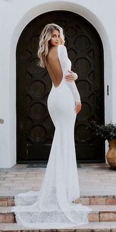 24 Romantic Bridal Gowns Perfect For Any Love Story ❤️ romantic bridal gowns. 24 Romantic Bridal Gowns Perfect For Any Love Story ❤️ romantic bridal gowns mermaid backless with long sleeves lace katie may ❤️ Full gallery: weddingdressesgui. Wedding Dress Black, Backless Wedding Dress With Sleeves, Long Gown For Wedding, African Wedding Dress, Wedding Dresses 2018, Long Sleeve Wedding, Dresses With Sleeves, Maxi Dresses, Hair Wedding