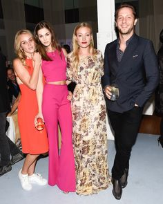Love the long dress//Elizabeth Gilpin, Laura Love, Kate Foley in DVF and Derek Blasberg #NYFW