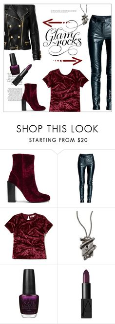 """""""Glam Rocks!"""" by ultracake ❤ liked on Polyvore featuring Jeffrey Campbell, Leka, Hollister Co., Yves Saint Laurent, Balmain, OPI, NARS Cosmetics, Leather, velvet and fashiontrend"""