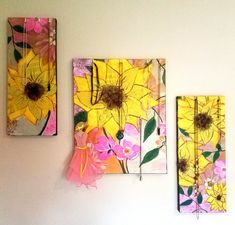 Sunflower Mixed media canvas jewelry organizer Mixed Media Canvas, Jewelry Organization, My Arts, Frame, Painting, Home Decor, Picture Frame, Decoration Home, Jewelry Storage