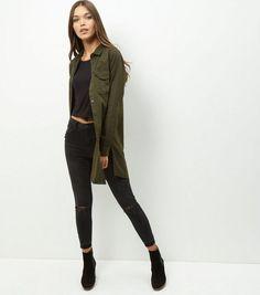 Khaki Longline Shirt  | New Look