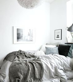 Cozy Home In Natural Tints Via Coco Lapine Design Add Pastels And Dark Tones Of Colour To Connect With Rest The Room White Gray Beddingbedroom