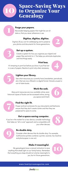 10 Space-Saving Ways to Organize Your Genealogy Research Feeling crowded by genealogy papers, books, photos and other stuff? Save space with these 10 ideas to get your clutter under control. Free Genealogy Sites, Genealogy Forms, Genealogy Research, Family Relationship Chart, Cousin Relationships, Pedigree Chart, Genealogy Organization, Space Saving, Organize
