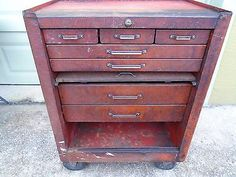 RARE-Vintage-Huot-Rolling-Locking-Tool-Box-Chest-Cabinet-7-Drawers-34x28x18-97Lb