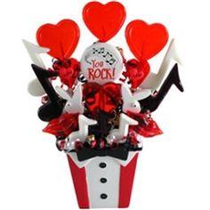 Valentine's Day Candy Bouquet You Rock Lollipop