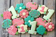 Floral Birthday Flower Shabby Chic Cookies  by SugaredHeartsBakery
