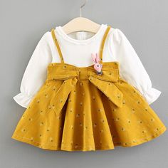 Bowknot Decorated Long Sleeve Zipper Back Fake Two-Piece Dress Toddler Outfits, Kids Outfits, Baby Outfits, Spring Outfits, Organic Baby Clothes, Cute Baby Clothes, Baby Girl Dresses, Baby Dress, Baby Girl Fashion