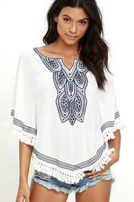 Bonfire night just got even better now that the Moonless Sky Ivory Embroidered Poncho Top is coming along! Lightweight woven poncho has a notched neckline framed by navy blue embroidery. Gently pointed hem has tassel fringe. #CuteDresses #TrendyTops, #FashionShoes #JuniorsClothing