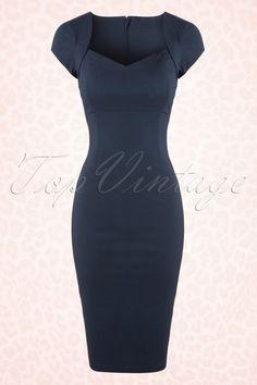 Collectif Clothing Regina Blue Pencil Dress 100 31 16108 1