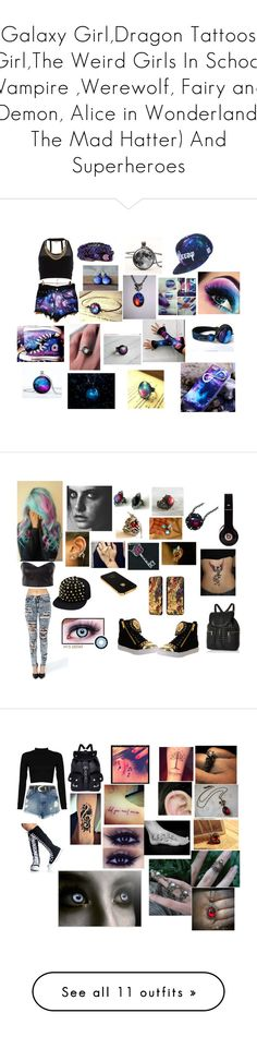 """Galaxy Girl,Dragon Tattoos Girl,The Weird Girls In School (Vampire ,Werewolf, Fairy and Demon, Alice in Wonderland, The Mad Hatter) And Superheroes"" by nylita-02 ❤ liked on Polyvore featuring Pacha, Rastaclat, Retrò, Converse, Funlayo Deri, River Island, Jeffrey Campbell, Wite, Disney and Music Notes"