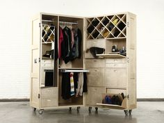 Crate Wardrobe Open Lots of terrific designs that close up into a crate on wheels.  Open up a fully stocked mobile bar. Or unlatch a game table.  Wonderful ideas!