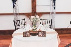 Mr and Mrs Signs | Sweetheart Table | Rustic Wedding | Rainy Navy and Pink Wedding at The Lodges at Gettysburg