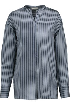 VINCE Striped Silk-Satin Shirt. #vince #cloth #shirt