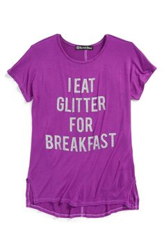 Main Image - Recycled Karma 'I Eat Glitter for Breakfast' Tee (Big Girls)