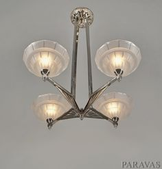 French art deco chandelier. Nice uplight chandelier around 1935. (paravas - ebay)