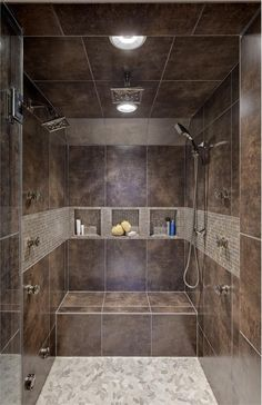 Sliced Pebble tile shower floor. Found at www.pebbletileshop.com