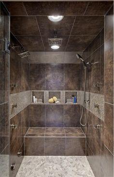 Sliced Pebble tile shower floor. Found at www.pebbletileshop.com