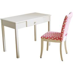 Desk and Upholstered Chair Set, White and Pink -Walmart $129, could reupholster chair