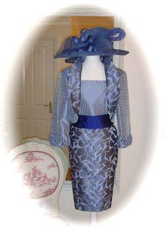NWT Carla Ruiz Dress/Jacket, 14, Grey/Blue, Mother of Bride Races Ladies Formal