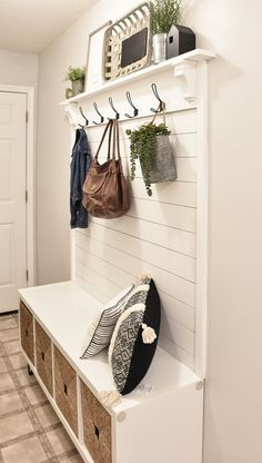 This DIY Hall Tree Bench is the perfect addition for your entryway. Check out the building plans and tutorial on how to build your own Entryway Hall Tree bench. This modern farmhouse hall tree is one you don't wanna miss. Small Entryway Bench, Entryway Decor, Entryway Ideas, Entryway Bench Storage, Hallway Tree Bench, Entry Bench Diy, Cube Storage Bench, Hall Bench With Storage, Hallway Bench