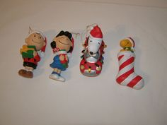 """. #Peanuts #ChristmasOrnaments Snoopy Woodstock Lucy #Charlie Brown 4.5"""" Set of 4"""