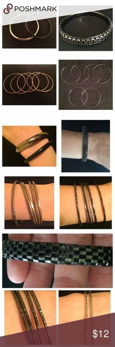 Bangle Bundle  TOP LEFT- black and Metallic Silver plastic bangles, silver is slightly scratched.  TOP RIGHT- no flaws, zipper like texture.  BOTTOM LEFT- 5 faux gold bangles BOTTOM RIGHT- 6 bangles (4 black, 2 silver colored). silver ones are a little bent.  All purchased at jewelry fairs. Feel free to ask me any questions  Jewelry