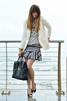 graphic tee with blazer and striped skirt 2017