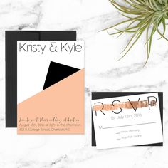 Blush + Rose Gold. Modern/Minimalist Wedding Invitation
