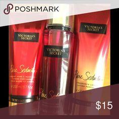 Victoria's Secret Pure Seduction- 3 Products Victoria's Secret Pure Seduction: Fragrance Lotion 8 oz, Hand & Body Creme 6.7 oz & Fragrance Mist 8.4 oz. Makeup