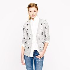 J Crew Sequin Bow Cardigan. Sold out for months and I find one on Poshmark - score!