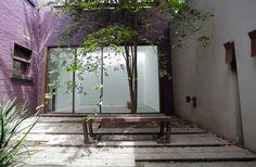 Banca exterior, hierro con acabado oxidado, Octubre diseño, Bogotá Colombia
