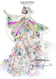 "The sketch of the dress and the cape designed especially for Katy Perry by Creative Directors Maria Grazia Chiuri and Pierpaolo Piccioli for her "" Prismatic World Tour 2014""."