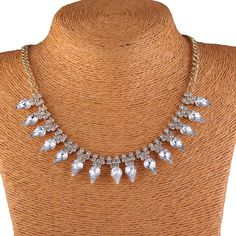 Fashion White Crystal Charm Copper Claw Chains Women Chokers Jewelry Necklace