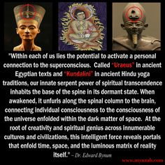 """""""Within each of us lies the potential to activate a personal connection to the superconscious.  Called """"Uraeus"""" in ancient Egyptian texts and """"Kundalini"""" in ancient Hindu yoga traditions, our innate serpent power of spiritual transcendence inhabits the base of the spine in its dormant state. When awakened, it unfurls along the spinal column to the brain, connecting individual consciousness to the consciousness of the universe enfolded within the dark matter of space.  At the root of…"""