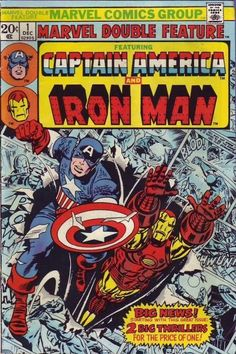 Shop Captain America & Iron Man Marvel Double Feature Poster created by marvelclassics. Marvel Comics Superheroes, Marvel Comic Books, Comic Book Characters, Comic Character, Comic Books Art, Comic Art, Marvel Heroes, Comic Poster, Marvel Avengers