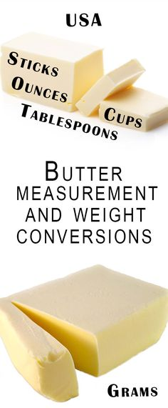 Butter Measurement and Weight Conversions - Erren's Kitchen - US oz, cups, tablespoons & sticks converted to grams Butter Measurements, Kitchen Measurements, Baking Tips, Baking Recipes, Pasta Recipes, Cookie Recipes, Baking Secrets, Baking Videos, Baking Desserts